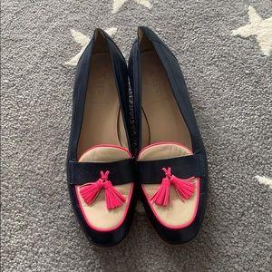 Jcrew navy pink ivory leather tassel loafers